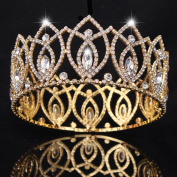 FUMUD Pageant Full Circle Tiara Clear Austrian Rhinestones King / Queen Crown Costume Party Tiara 7.1cm