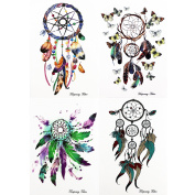 GIFT!!Tastto 4 Sheets Bright Colourful Dreamcatcher & Feathers Temporary Tattoos Body Paints Stickers Set for Girls and Women with GIFT