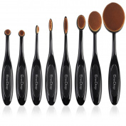 New Packaging EmaxDesign 8 Pieces Oval Makeup Brush Set Professional Foundation Concealer Blending Blush Liquid Powder Cream Cosmetics Brushes, Toothbrush Curve Makeup Tools For Face and Eyes.
