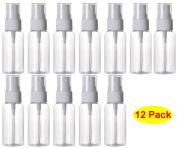 HOSL 30ml Refillable Fine Mist Spray Bottle Perfume Sprayer Bottle Cosmetic Atomizers PET Spray Bottles Pump Pack of 12