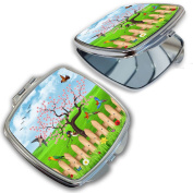 BleuReign(TM) Pretty Flowers and Birds on a Fence Compact Mirror