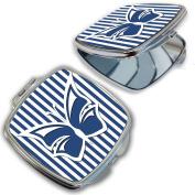 BleuReign(TM) Blue Striped Butterfly Compact Mirror