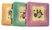 Coco love 3 pcs(Purple/Light blue/Yellow) PU Leather Flower Case Small Travel Size Makeup Cosmetic Personal Beauty Folding Mirrors