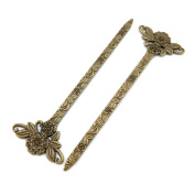 Price per 60 Pieces Fashion Jewellery Making Charms Findings Arts Crafts Beading Antique Bronze Tone K8OQ4 Flower Hairpin Bookmark