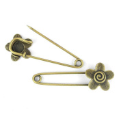 Price per 10 Pieces Fashion Jewellery Making Charms Findings Arts Crafts Beading Antique Bronze Tone 69971 Flower Safety Pins Brooch