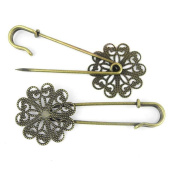 Price per 120 Pieces Fashion Jewellery Making Charms Findings Arts Crafts Beading Antique Bronze Tone 20341 Flower Safety Pins Brooch