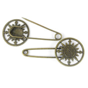 Price per 10 Pieces Fashion Jewellery Making Charms Findings Arts Crafts Beading Antique Bronze Tone 04775 Compass Safety Pins Brooch