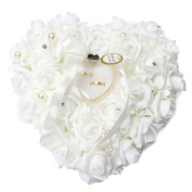 Wrisky NEW Romantic Pearl Rose Wedding Favours Heart Shaped Gift Ring Box Pillow Cushion