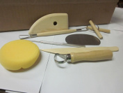 ARTS & CRAFTS SCULPTING 8pc POTTERY TOOL SET SHAPING moulding CLAY WAX ETC ~ 4PT8