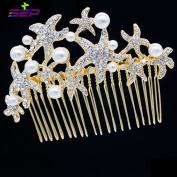 Crystals Rhinestone Starfish Hair Comb Pins for Bridal Wedding Hair Accessories Jewellery FA201592