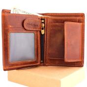 Mens Money Clip Genuine Leather Wallet Coin Pocket Retro Purse Vintage Craftsmanship Luxury Art
