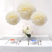 Sorive® 15PCS Mixed Sizes Beige Cream Ivory Tissue Paper Flower Pom Poms Wedding Birthday Party Nursery Decoration - Two Different Sizes