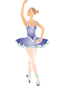 Ballerina Stencil - (size 11cm w x 29cm h) Reusable Wall Stencils for Kids Rooms - Best Quality Nursery Girls Room Stencil Ideas - Use on Walls, Floors, Fabrics, Glass, Wood, Terracotta, and More...
