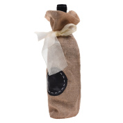 Kloud City ® Ligth Brown Linen Wine Bottle Gift Bag With Ribbon