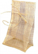 Jones International Natural Sinamay Square Bottom Drawstring Gift Bags