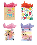 All Occasion Party Gift Bags - Set of 4 Large Gift Bags w/Tags & Tissue Paper