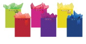 All Occasion Party Gift Bags - Set of 6 Quilted Emboss Large Gift Bags w/Tags & Tissue Paper