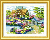 Dahlia DIY Dream House Scenery Counted Cross Stitch Kits 11CT Embroidery Handmade Needlework Wall Home Decor