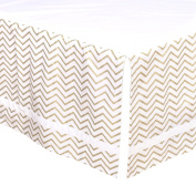 Gold Chevron Tailored Crib Dust Ruffle with White Stripe by The Peanut Shell