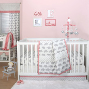 Grey Elephant and Triangle Dot 4 Piece Baby Crib Bedding Set with Coral Pink