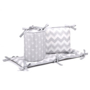 Grey and White Zig Zag and Arrow Baby Crib Bumper by The Peanut Shell