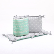 Mint Green and Grey Reversible Baby Crib Bumper - Native American Design