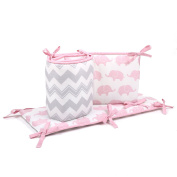 Grey Chevron and Pink Elephant Baby Crib Bumper by The Peanut Shell