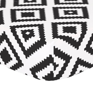 Black Diamond Tile Print 100% Cotton Fitted Crib Sheet by The Peanut Shell