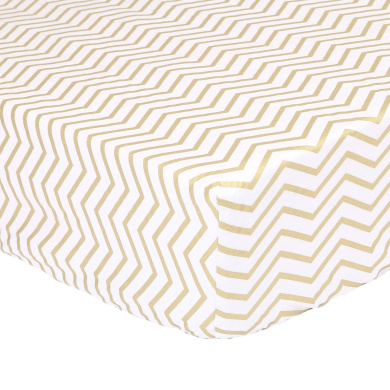 Gold Zig Zag Print 100% Cotton Sateen Fitted Crib Sheet by The Peanut Shell