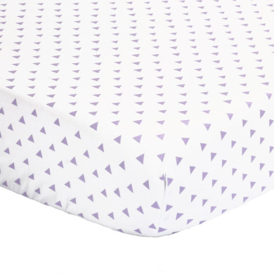 Purple Triangle Print 100% Cotton Sateen Fitted Crib Sheet by The Peanut Shell
