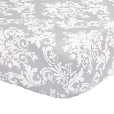 Grey Damask Print 100% Cotton Sateen Fitted Crib Sheet by The Peanut Shell
