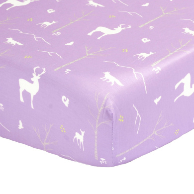 Purple Woodland Animal Print 100% Cotton Fitted Crib Sheet by The Peanut Shell