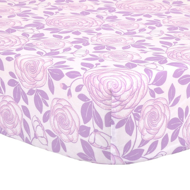 Purple Rose Print 100% Cotton Sateen Fitted Crib Sheet by The Peanut Shell