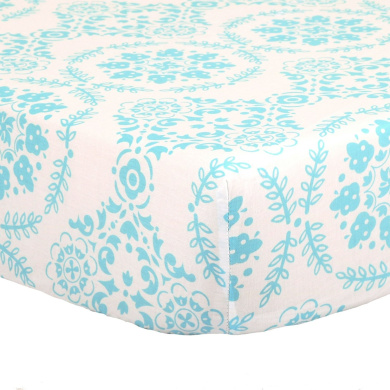 Teal Blue Medallion Print 100% Cotton Fitted Crib Sheet by The Peanut Shell