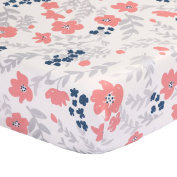 Coral Pink and Navy Blue Floral Print 100% Cotton Crib Sheet by The Peanut Shell