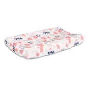 Floral Changing Pad Cover in Coral Pink and Navy Blue by The Peanut Shell