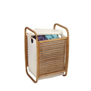 Household Essentials Open-Side Bamboo Slat Laundry Hamper, Brown/Off-White, 6218-1