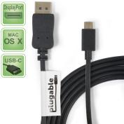 Plugable USB-C to DisplayPort Adapter Cable (6'/1.8m) for MacBook Retina 30cm 2015 / 2016, Chromebook Pixel 2015, ThunderboltTM 3 & More