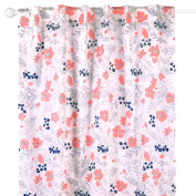Coral and Navy Floral Window Drapery Panels - Set of Two 210cm by 110cm Panels