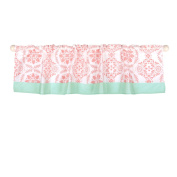 Coral Pink Medallion Print Window Valance by The Peanut Shell - 100% Cotton
