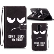 LG G Stylo / LG G Stylus (LS770) Case, ARSUE Funny Cat Face Don't Touch My Phone PU Leather Magnetic Wallet Case with Wristlet and Credit/ID Card Cash Slot for LG G Stylo / LG G Stylus LS770