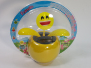 Yellow EMOJI Smiley Face Solar/Light Activated Flower Pot