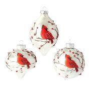 RAZ Imports - 7.6cm Cardinal Glass Ornaments - Set of 3