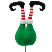 Green Plush Elf Butt Pick Accent Christmas Tree Ornament Decor, 50cm x 23cm x 14cm on Bendable Stick