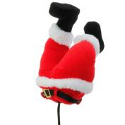 Red Plush Santa Claus Butt Pick Accent Christmas Tree Ornament Decor, 27cm x 17cm x 8.9cm on Bendable STick