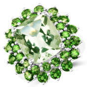 10.05 Carat Genuine Green Amethyst & Chrome Diopside .925 Sterling Silver Ring