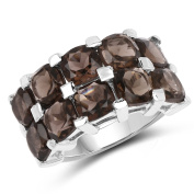 9.50 Carat Genuine Smoky Quartz .925 Sterling Silver Ring
