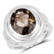 6.59 Carat Genuine Smoky Quartz .925 Sterling Silver Ring