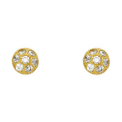 Women's 14k Yellow Gold CZ Ball Stud Tiny Small Baby Post Earrings (1cm x 1cm ) - by American Set Co.