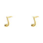 Women's 14k Yellow Gold Music Note Small Tiny Baby Post Earrings (1.1cm x 0.4cm ) - by American Set Co.